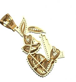 bunny hip hop diamond pendant