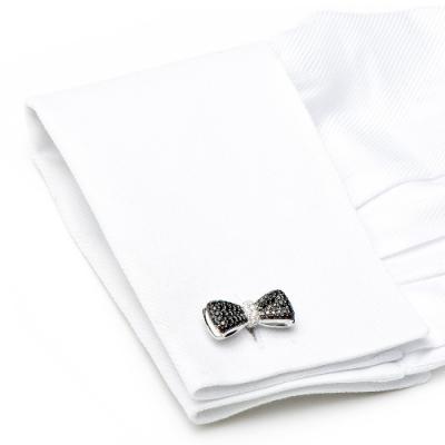 black diamond bow tie cufflink
