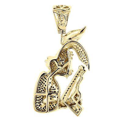 bunny hip hop diamond pendant