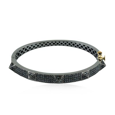 pyramid black diamond bangle bracelet