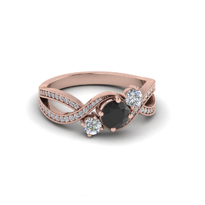 twisted three stone engagement ring