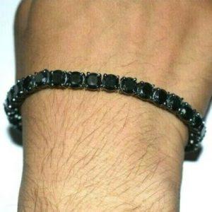 men's black diamond tennis bracelet