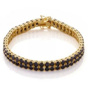 14k yellow gold black diamond tennis bracelet