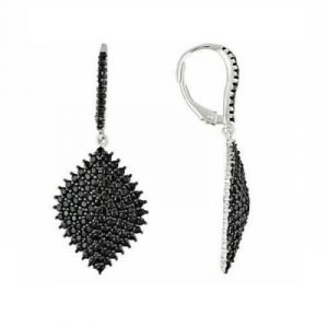black diamond dangle women's earrings