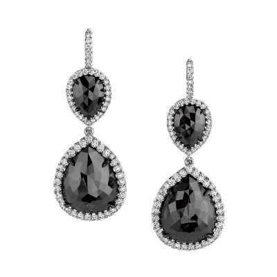 black diamond pear shape dangle earrings