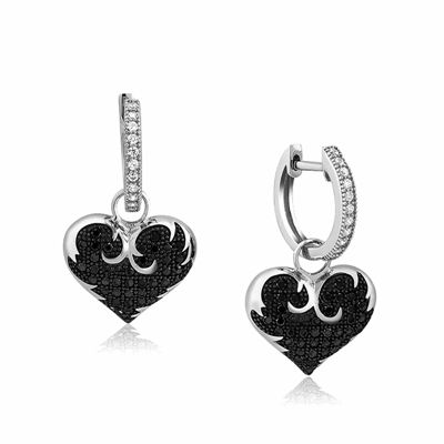 black and white diamonds hoop earrings