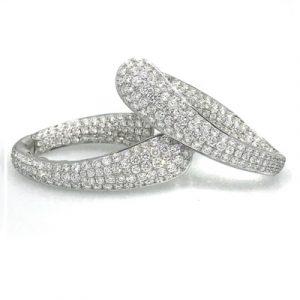 white diamonds hoop earring