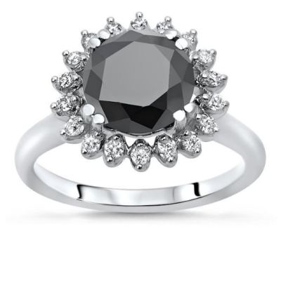 round black diamond engagement ring