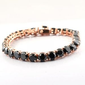 black diamond tennis bracelet 14k rose gold