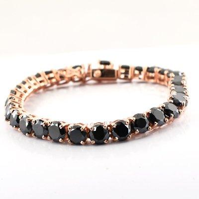 black diamond tennis bracelet 14k rose gold