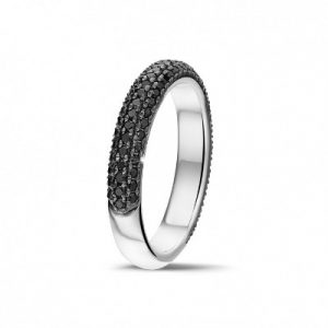 black diamonds half eternity ring