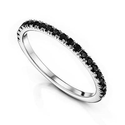 micro pave black diamond half eternity band