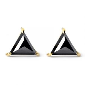 black diamond triangle stud earrings