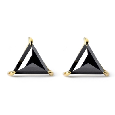 black diamond triangle stud earrings