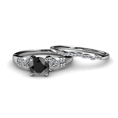 black and white diamond bridal set ring