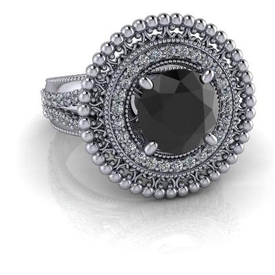 vintage style black diamond ring