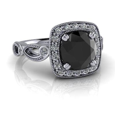 b1ed80d9ef71a 2.25 Carat Vintage Style Engagement Rings Set In 14k White Gold 2.20 Carat  Vintage Style Black Diamond Ring Craft In 14k White Gold1.44 Carat Oval ...