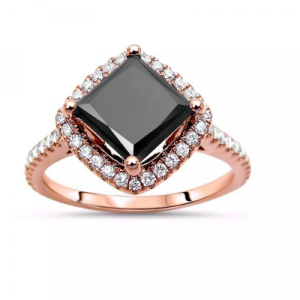 princess cut black diamond engagement ring