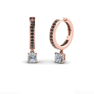 14k rose gold black diamond hoop earring