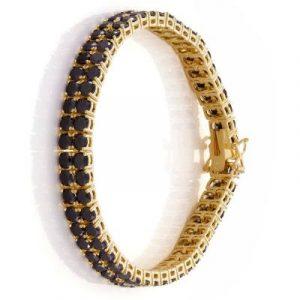 14k yellow gold black diamond tennis bracelet