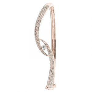 round diamond eye shape claw bangle bracelet
