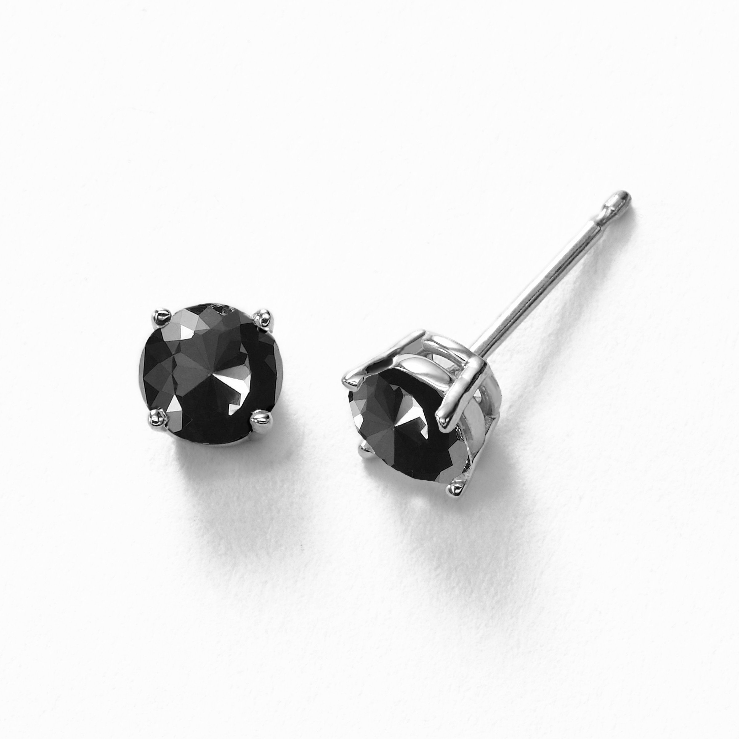 1e5200e6c 1.00 Carat Black Diamond Stud Earring For Men's 1.50 Carat Stud Earrings  For Men Crafted In 14k White Gold 1.50 Diamond Square Cluster Stud Earrings  Fro ...
