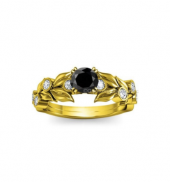beautiful black diamond ring yellow gold
