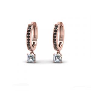 14k rose gold black diamond hoop earring