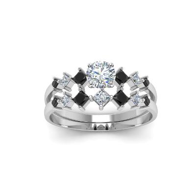 black and white diamonds bridal set