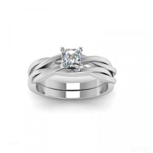 simple white diamond bridal set ring