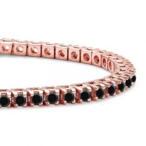 round cut black diamond link tennis bracelet