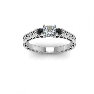 vintage style three stone diamond ring