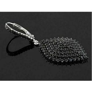 black diamond dangle women's earrings