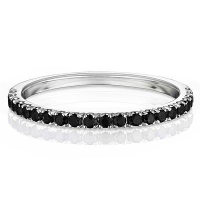 micro pave black diamond half eternity band
