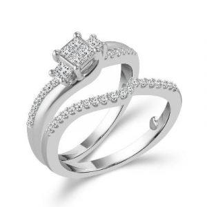 three stone diamond engagement ring set