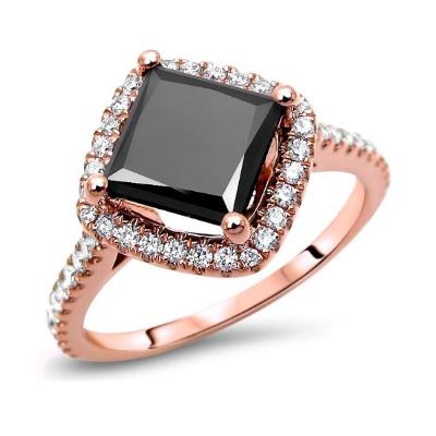 princess cut black diamond engagement ring