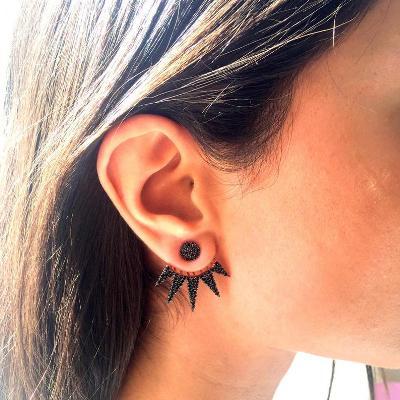 14k rose gold black diamonds earring