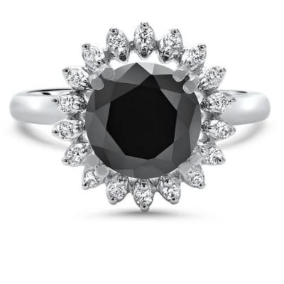 round black diamond engagement ring