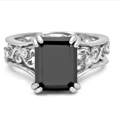 black emerald cut diamond engagement ring