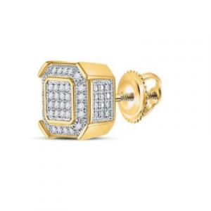 diamond square cluster stud earrings