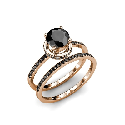 black diamond bridal set ring