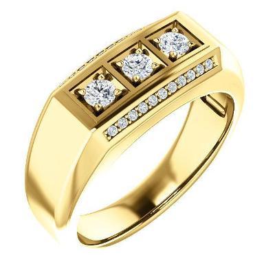 men's three stone diamond ring