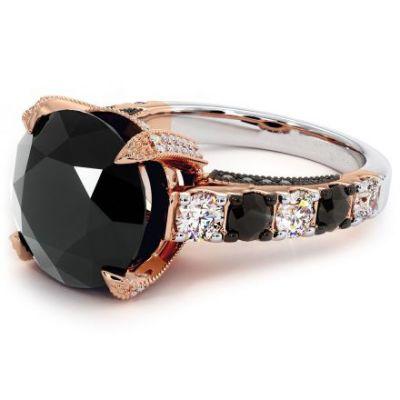 black diamond engagement ring 14k rose gold
