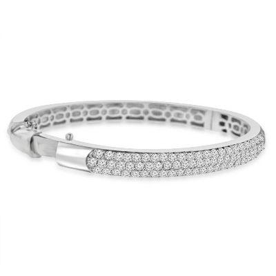 diamond bangle bracelet 14k white gold