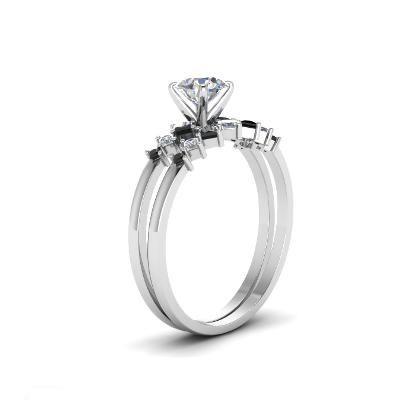Kite shape black and white diamonds bridal set