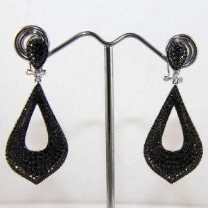 fancy black diamond dangle earrings