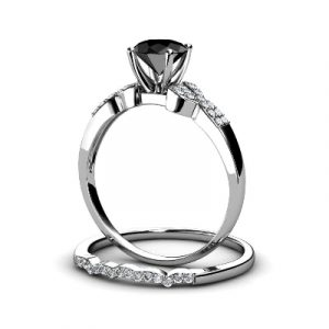 black and white diamond bridal set ring