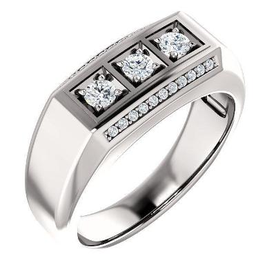 men's three stone diamond ring