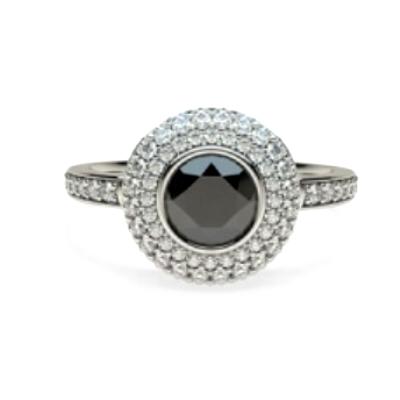 Halo black diamond ring