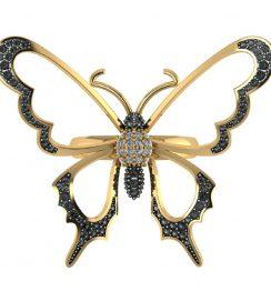 black diamond butterfly ring
